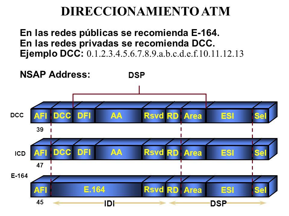 AFI DCCDFIAARsvd RDAreaESISel AFI DCCDFIAARsvd RDAreaESISel AFI E.164Rsvd RDAreaESISel IDI En las redes públicas se recomienda E-164. En las redes pri