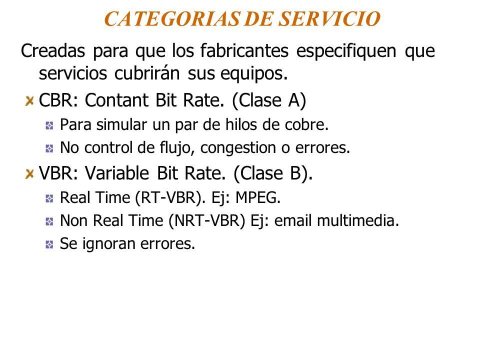 CATEGORIAS DE SERVICIO Creadas para que los fabricantes especifiquen que servicios cubrirán sus equipos. CBR: Contant Bit Rate. (Clase A) Para simular