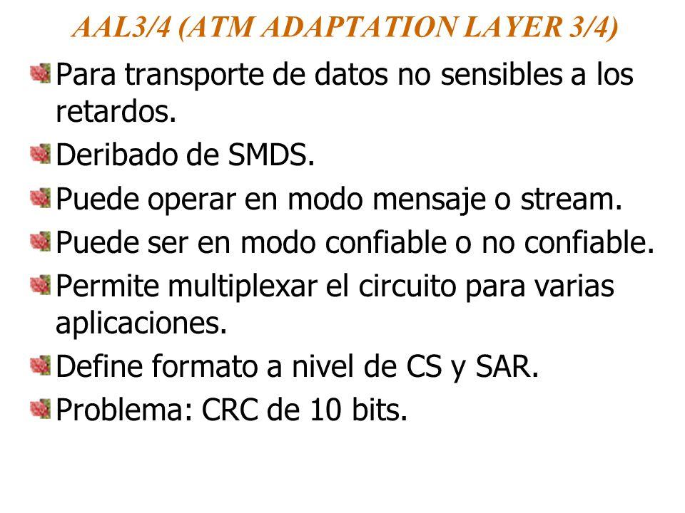AAL3/4 (ATM ADAPTATION LAYER 3/4) Para transporte de datos no sensibles a los retardos. Deribado de SMDS. Puede operar en modo mensaje o stream. Puede