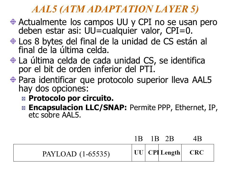 AAL5 (ATM ADAPTATION LAYER 5) Actualmente los campos UU y CPI no se usan pero deben estar asi: UU=cualquier valor, CPI=0. Los 8 bytes del final de la