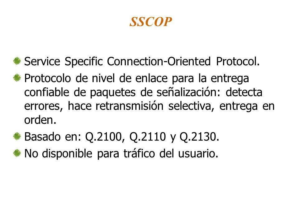 SSCOP Service Specific Connection-Oriented Protocol. Protocolo de nivel de enlace para la entrega confiable de paquetes de señalización: detecta error