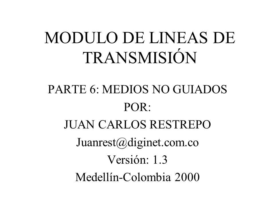 MODULO DE LINEAS DE TRANSMISIÓN PARTE 6: MEDIOS NO GUIADOS POR: JUAN CARLOS RESTREPO Juanrest@diginet.com.co Versión: 1.3 Medellín-Colombia 2000