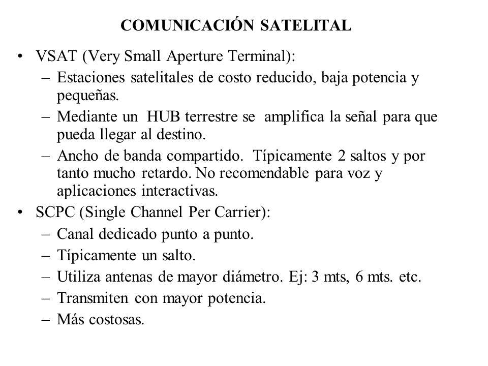 COMUNICACIÓN SATELITAL VSAT (Very Small Aperture Terminal): –Estaciones satelitales de costo reducido, baja potencia y pequeñas. –Mediante un HUB terr