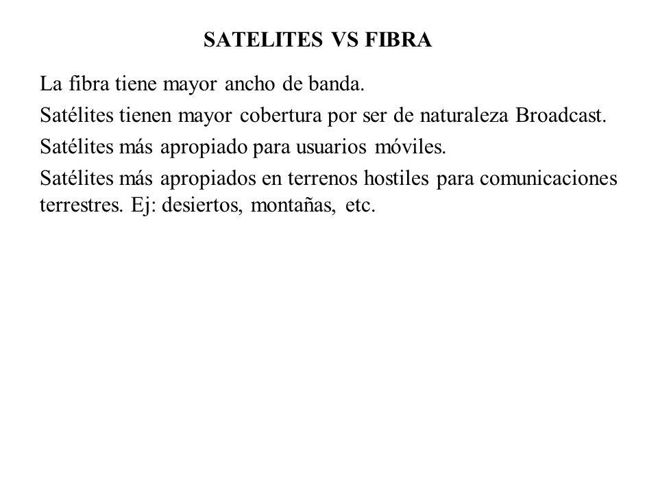 SATELITES VS FIBRA La fibra tiene mayor ancho de banda. Satélites tienen mayor cobertura por ser de naturaleza Broadcast. Satélites más apropiado para