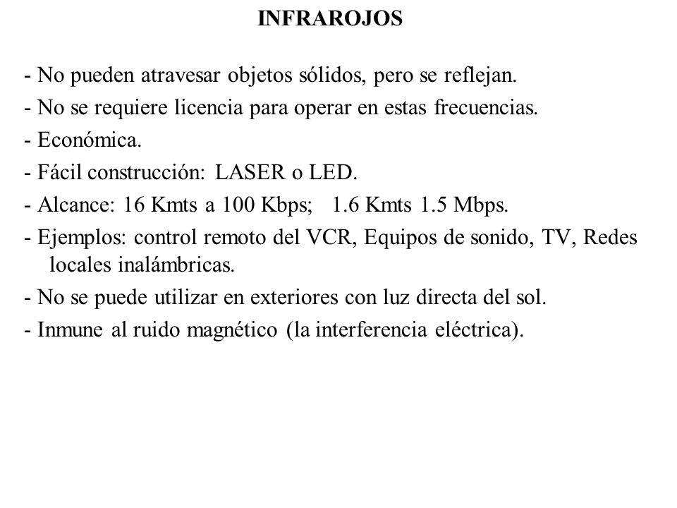 INFRAROJOS - No pueden atravesar objetos sólidos, pero se reflejan. - No se requiere licencia para operar en estas frecuencias. - Económica. - Fácil c