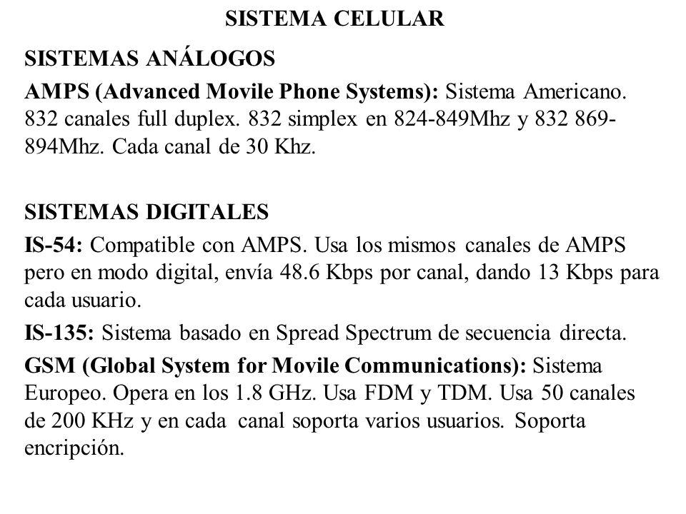 SISTEMA CELULAR SISTEMAS ANÁLOGOS AMPS (Advanced Movile Phone Systems): Sistema Americano. 832 canales full duplex. 832 simplex en 824-849Mhz y 832 86