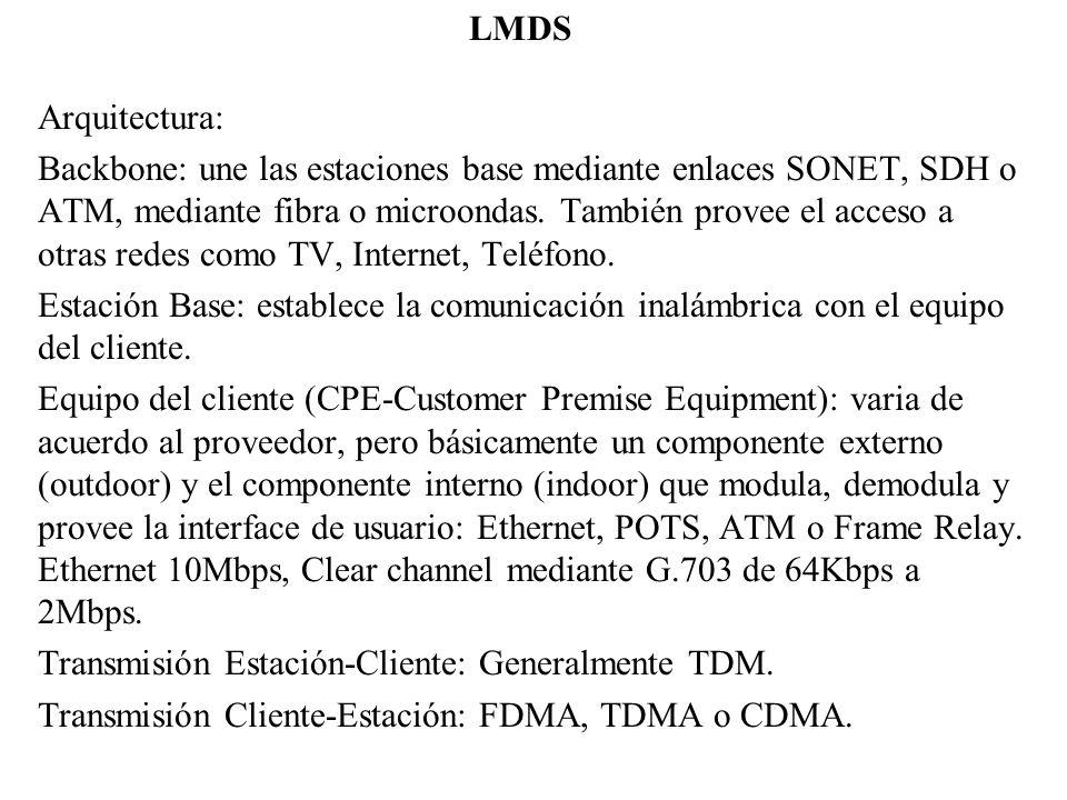 LMDS Arquitectura: Backbone: une las estaciones base mediante enlaces SONET, SDH o ATM, mediante fibra o microondas. También provee el acceso a otras