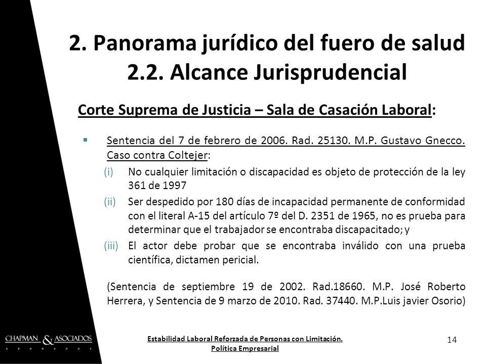 Corte Suprema de Justicia – Sala de Casación Laboral: Sentencia del 7 de febrero de 2006. Rad. 25130. M.P. Gustavo Gnecco. Caso contra Coltejer: (i)No
