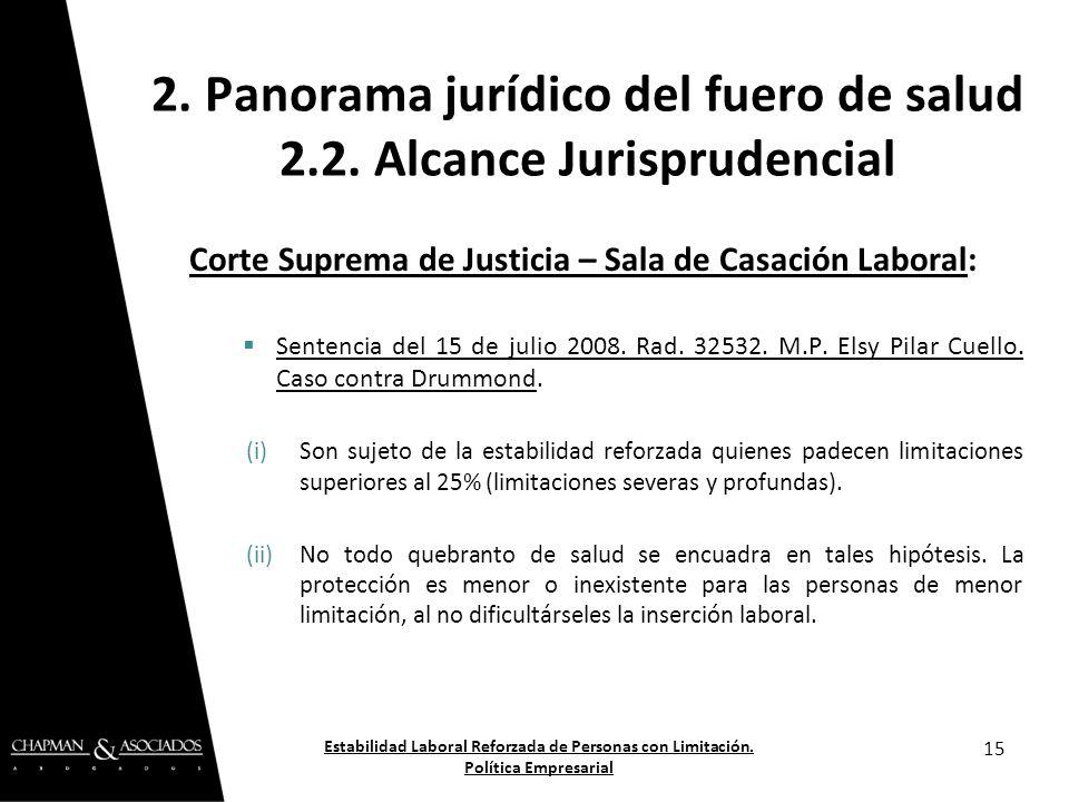 Corte Suprema de Justicia – Sala de Casación Laboral: Sentencia del 15 de julio 2008. Rad. 32532. M.P. Elsy Pilar Cuello. Caso contra Drummond. (i)Son