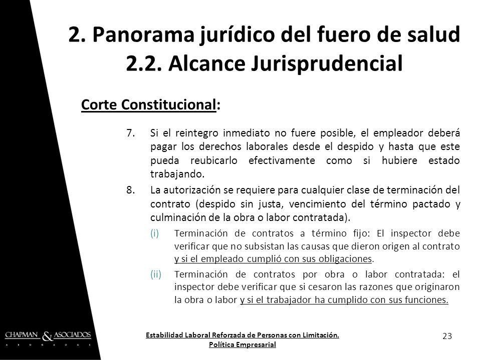 Corte Constitucional: 7.Si el reintegro inmediato no fuere posible, el empleador deberá pagar los derechos laborales desde el despido y hasta que este