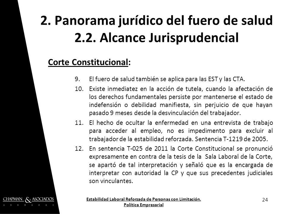 Corte Constitucional: 9.El fuero de salud también se aplica para las EST y las CTA. 10.Existe inmediatez en la acción de tutela, cuando la afectación