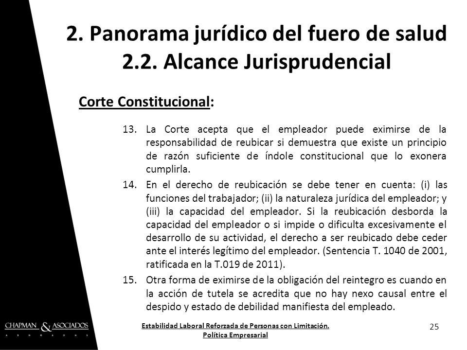 Corte Constitucional: 13.La Corte acepta que el empleador puede eximirse de la responsabilidad de reubicar si demuestra que existe un principio de raz