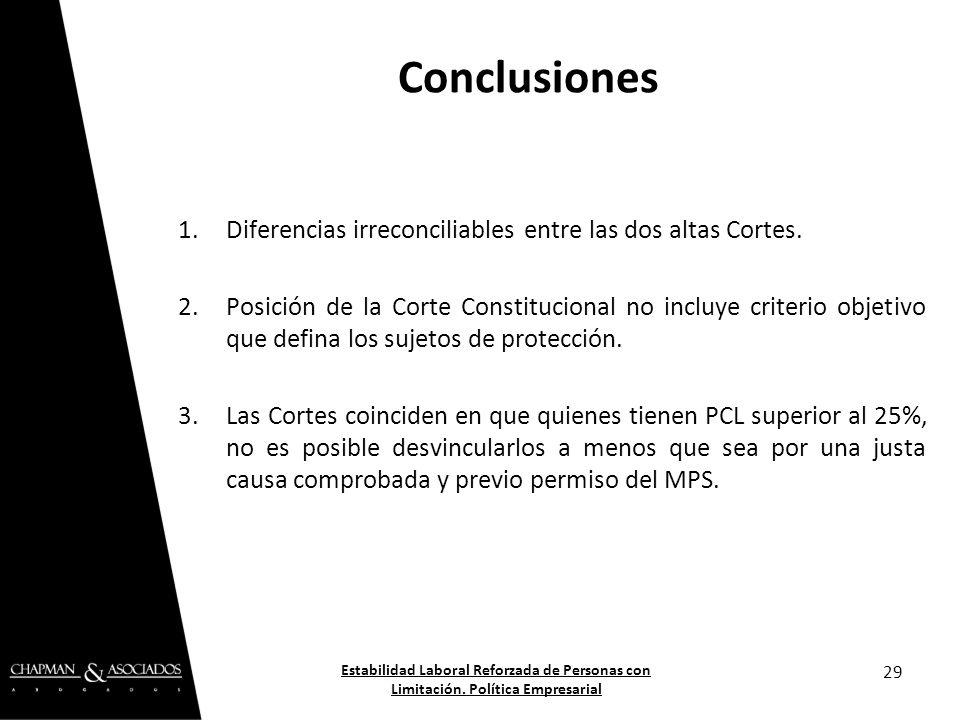 1.Diferencias irreconciliables entre las dos altas Cortes. 2.Posición de la Corte Constitucional no incluye criterio objetivo que defina los sujetos d