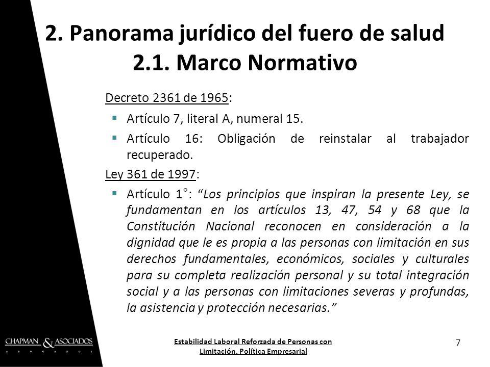 Decreto 2361 de 1965: Artículo 7, literal A, numeral 15. Artículo 16: Obligación de reinstalar al trabajador recuperado. Ley 361 de 1997: Artículo 1°: