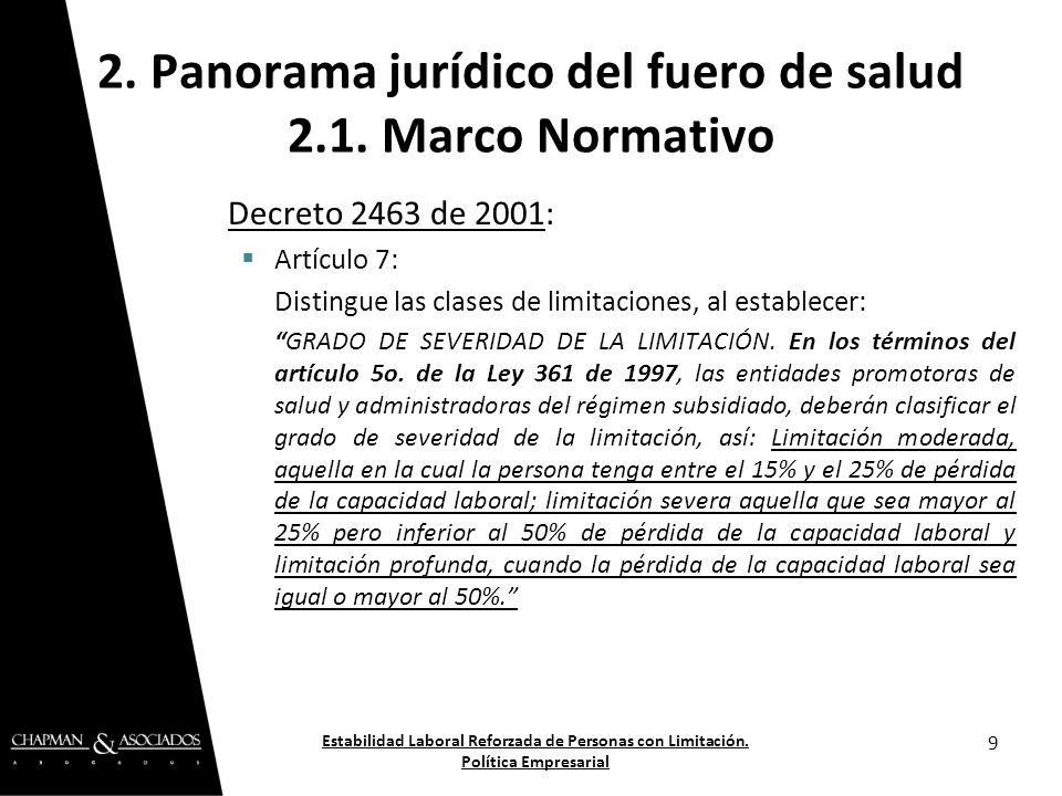 Decreto 2463 de 2001: Artículo 7: Distingue las clases de limitaciones, al establecer: GRADO DE SEVERIDAD DE LA LIMITACIÓN. En los términos del artícu