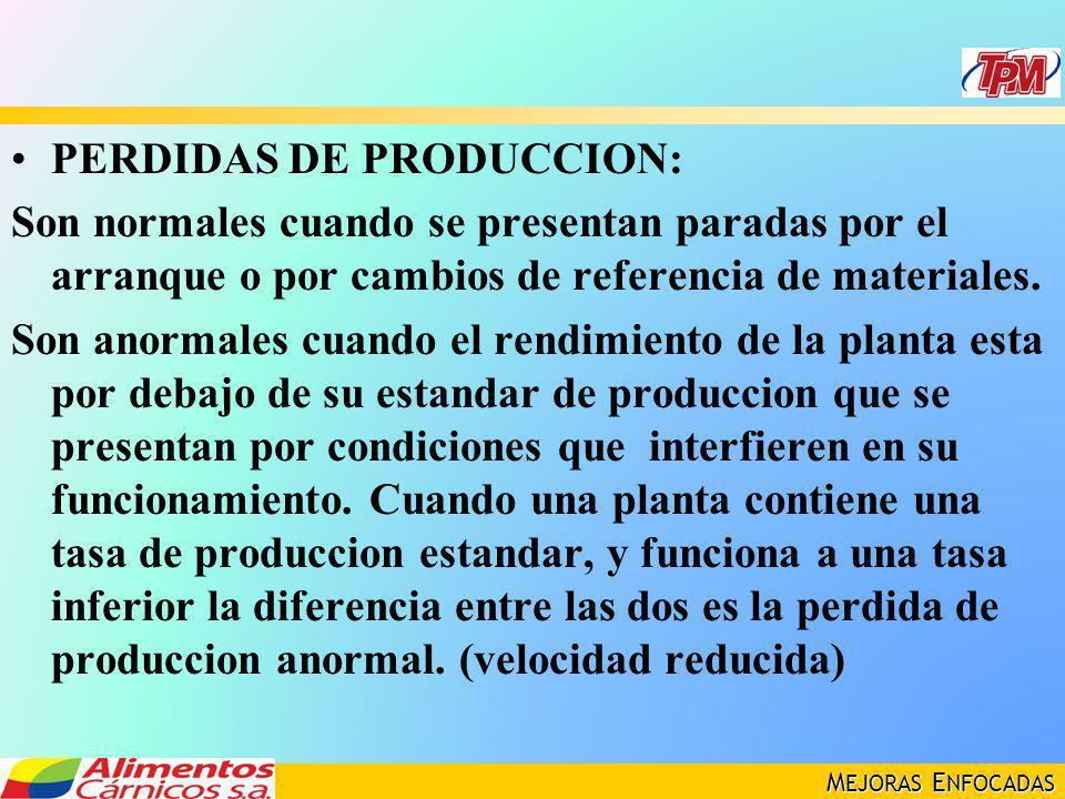 M EJORAS E NFOCADAS PERDIDAS DE PRODUCCION: Son normales cuando se presentan paradas por el arranque o por cambios de referencia de materiales. Son an