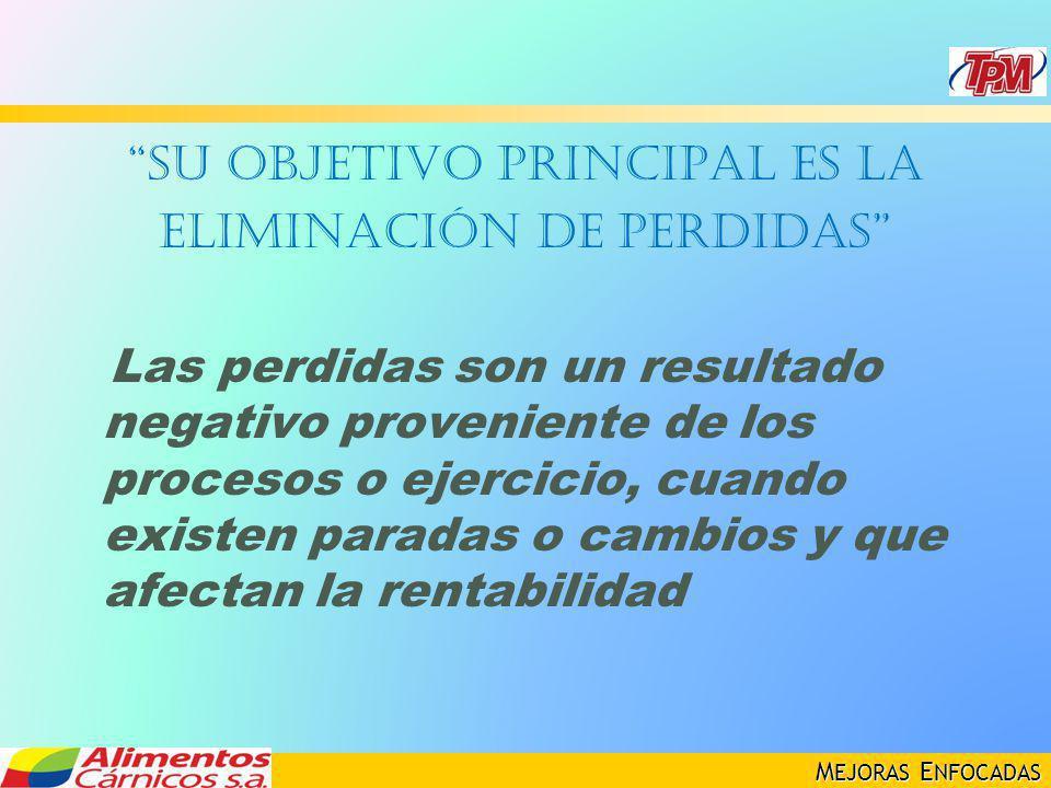 M EJORAS E NFOCADAS Su objetivo principal es la eliminación de perdidas Las perdidas son un resultado negativo proveniente de los procesos o ejercicio