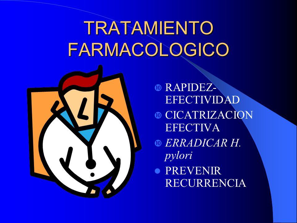 TRATAMIENTO FARMACOLOGICO RAPIDEZ- EFECTIVIDAD CICATRIZACION EFECTIVA ERRADICAR H. pylori PREVENIR RECURRENCIA