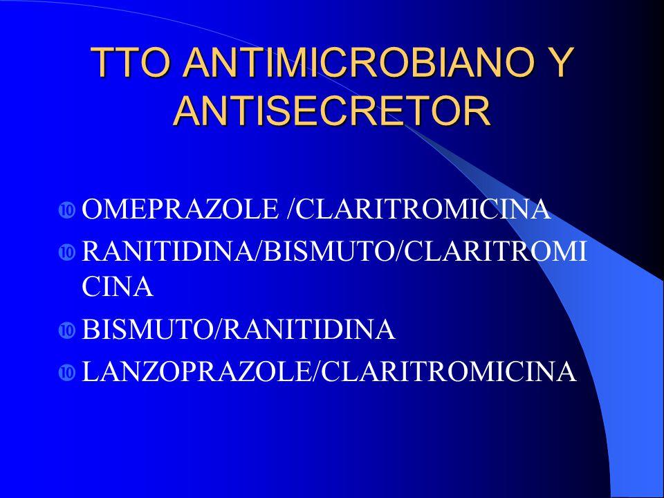 TTO ANTIMICROBIANO Y ANTISECRETOR OMEPRAZOLE /CLARITROMICINA RANITIDINA/BISMUTO/CLARITROMI CINA BISMUTO/RANITIDINA LANZOPRAZOLE/CLARITROMICINA