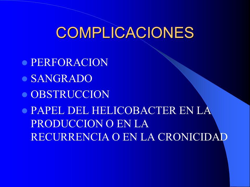 COMPLICACIONES PERFORACION SANGRADO OBSTRUCCION PAPEL DEL HELICOBACTER EN LA PRODUCCION O EN LA RECURRENCIA O EN LA CRONICIDAD