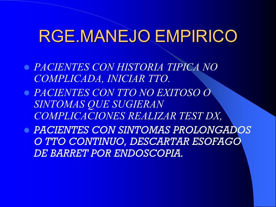 RGE.MANEJO EMPIRICO PACIENTES CON HISTORIA TIPICA NO COMPLICADA, INICIAR TTO. PACIENTES CON TTO NO EXITOSO O SINTOMAS QUE SUGIERAN COMPLICACIONES REAL