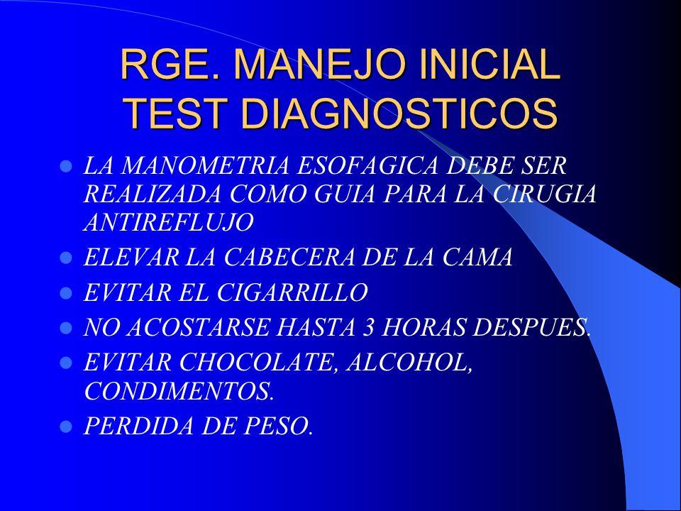 RGE. MANEJO INICIAL TEST DIAGNOSTICOS LA MANOMETRIA ESOFAGICA DEBE SER REALIZADA COMO GUIA PARA LA CIRUGIA ANTIREFLUJO ELEVAR LA CABECERA DE LA CAMA E