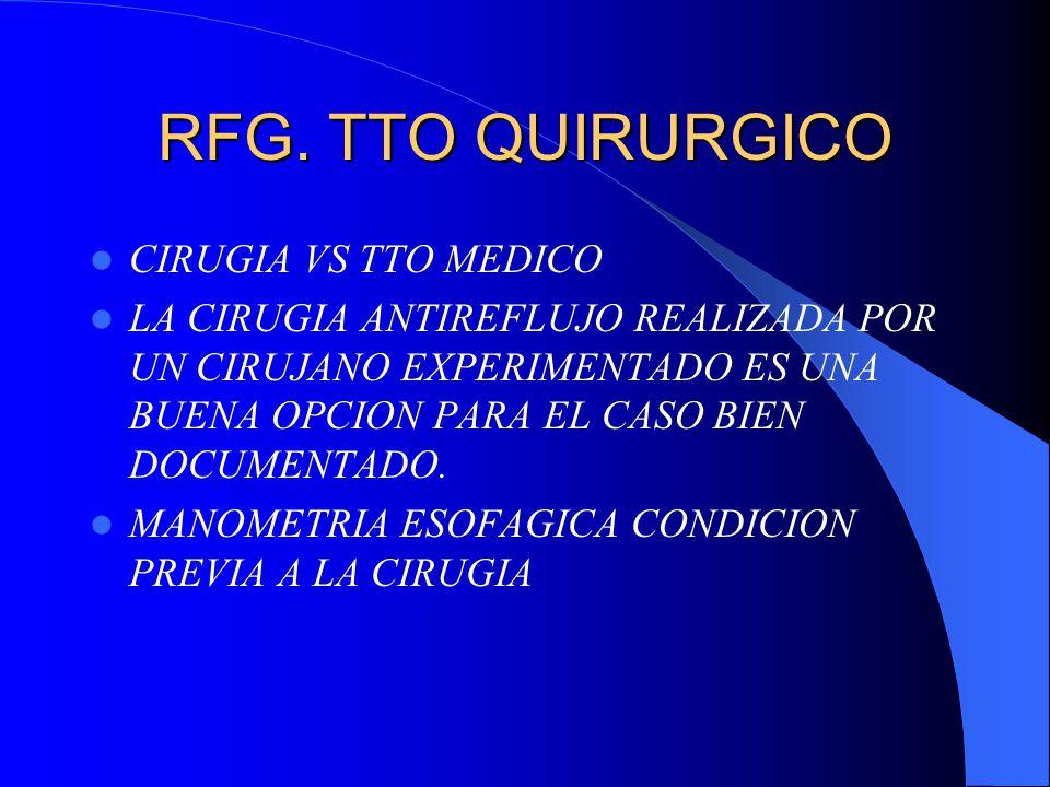 RFG. TTO QUIRURGICO CIRUGIA VS TTO MEDICO LA CIRUGIA ANTIREFLUJO REALIZADA POR UN CIRUJANO EXPERIMENTADO ES UNA BUENA OPCION PARA EL CASO BIEN DOCUMEN
