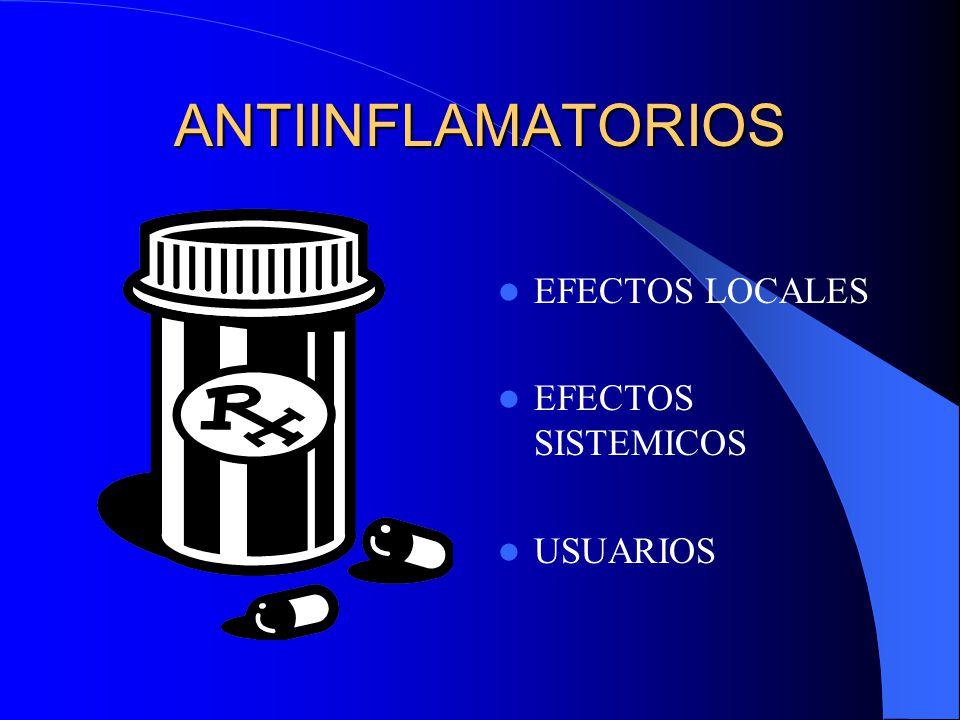 ANTIINFLAMATORIOS EFECTOS LOCALES EFECTOS SISTEMICOS USUARIOS