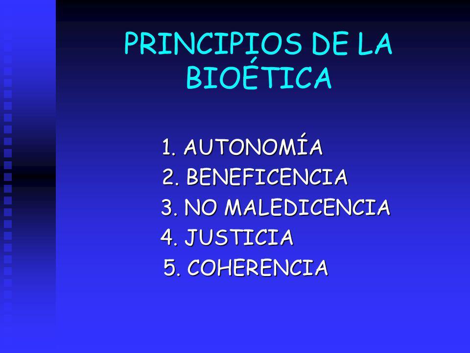 PRINCIPIOS DE LA BIOÉTICA 1. AUTONOMÍA 1. AUTONOMÍA 2. BENEFICENCIA 2. BENEFICENCIA 3. NO MALEDICENCIA 3. NO MALEDICENCIA 4. JUSTICIA 5. COHERENCIA 5.
