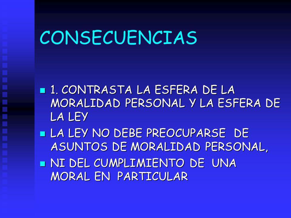 CONSECUENCIAS n 1. CONTRASTA LA ESFERA DE LA MORALIDAD PERSONAL Y LA ESFERA DE LA LEY n LA LEY NO DEBE PREOCUPARSE DE ASUNTOS DE MORALIDAD PERSONAL, n