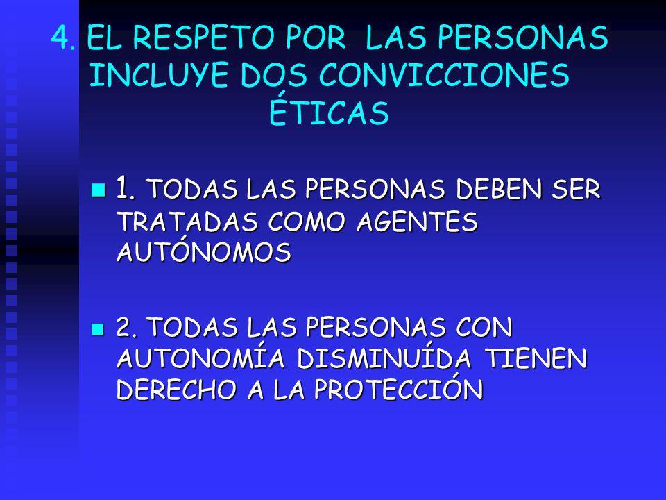 4. EL RESPETO POR LAS PERSONAS INCLUYE DOS CONVICCIONES ÉTICAS n 1. TODAS LAS PERSONAS DEBEN SER TRATADAS COMO AGENTES AUTÓNOMOS n 2. TODAS LAS PERSON