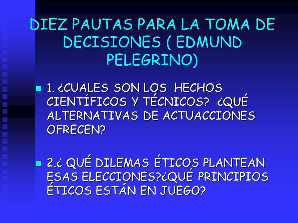 DIEZ PAUTAS PARA LA TOMA DE DECISIONES ( EDMUND PELEGRINO) n 1. ¿CUALES SON LOS HECHOS CIENTÍFICOS Y TÉCNICOS? ¿QUÉ ALTERNATIVAS DE ACTUACCIONES OFREC
