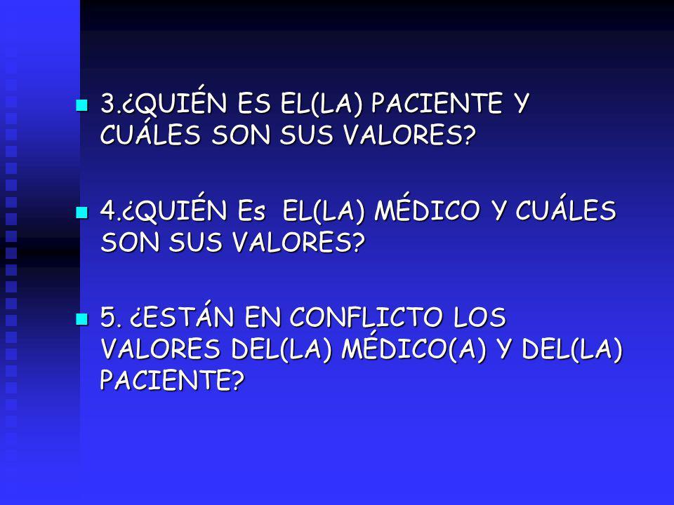 n 3.¿QUIÉN ES EL(LA) PACIENTE Y CUÁLES SON SUS VALORES? n 4.¿QUIÉN Es EL(LA) MÉDICO Y CUÁLES SON SUS VALORES? n 5. ¿ESTÁN EN CONFLICTO LOS VALORES DEL