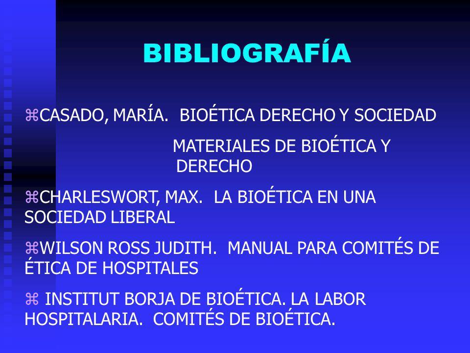 BIBLIOGRAFÍA zCASADO, MARÍA. BIOÉTICA DERECHO Y SOCIEDAD MATERIALES DE BIOÉTICA Y DERECHO zCHARLESWORT, MAX. LA BIOÉTICA EN UNA SOCIEDAD LIBERAL zWILS
