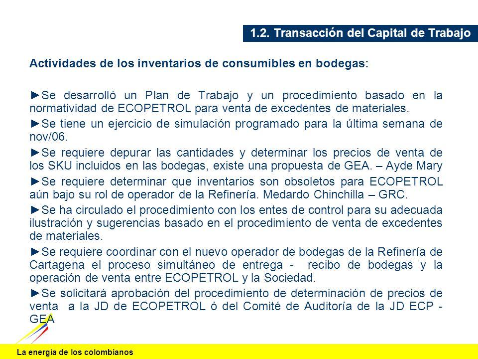 La energía de los colombianos 1.2. Transacción del Capital de Trabajo Actividades de los inventarios de consumibles en bodegas: Se desarrolló un Plan
