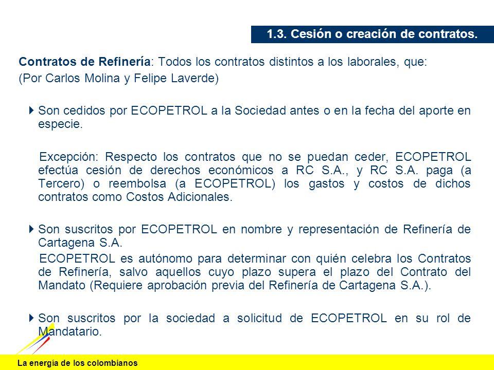 La energía de los colombianos 1.3. Cesión o creación de contratos. Contratos de Refinería: Todos los contratos distintos a los laborales, que: (Por Ca
