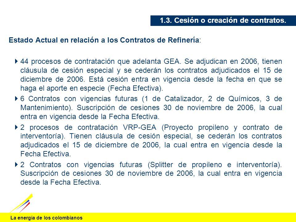 La energía de los colombianos 1.3. Cesión o creación de contratos. Estado Actual en relación a los Contratos de Refinería: 44 procesos de contratación