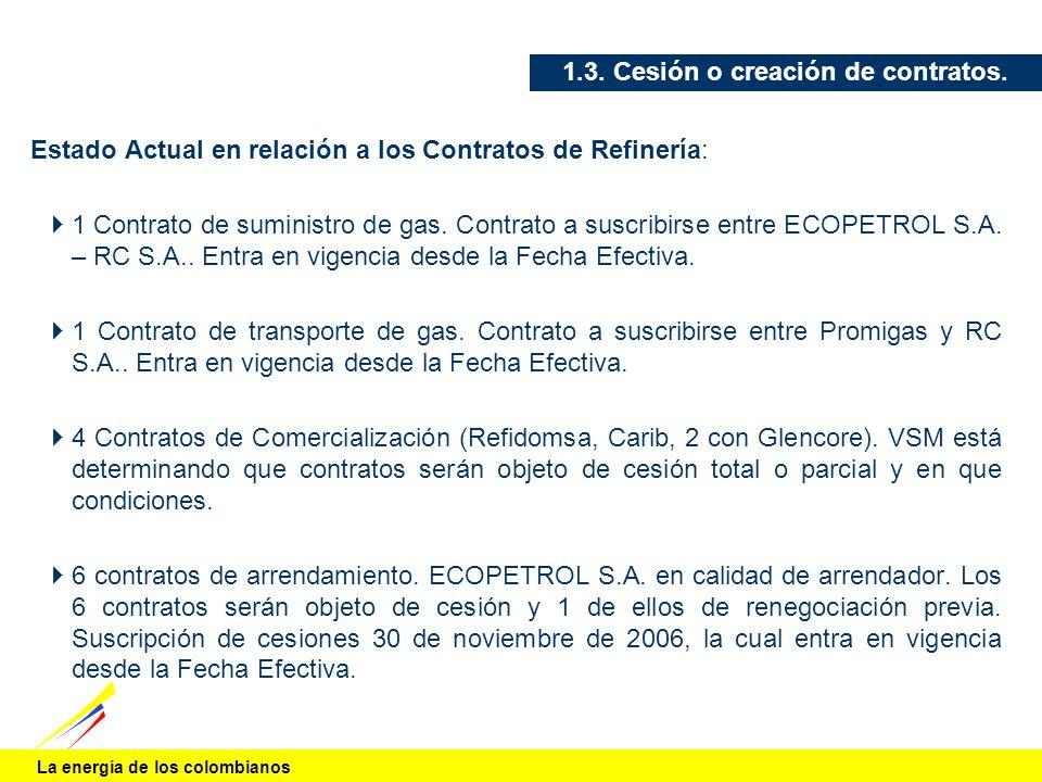 La energía de los colombianos 1.3. Cesión o creación de contratos. Estado Actual en relación a los Contratos de Refinería: 1 Contrato de suministro de