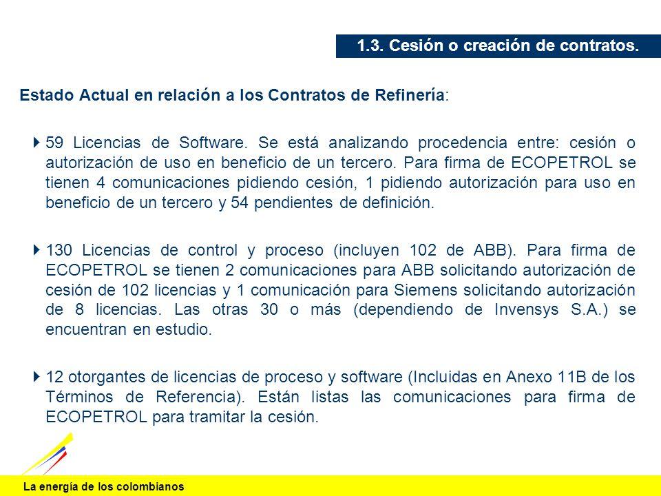 La energía de los colombianos 1.3. Cesión o creación de contratos. Estado Actual en relación a los Contratos de Refinería: 59 Licencias de Software. S
