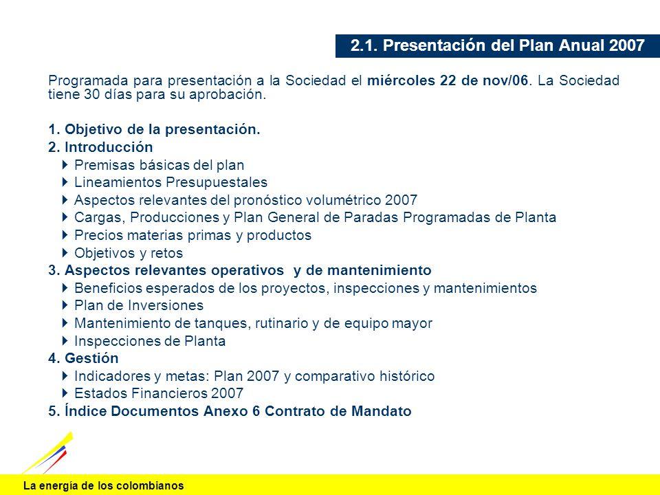 La energía de los colombianos 2.1. Presentación del Plan Anual 2007 Programada para presentación a la Sociedad el miércoles 22 de nov/06. La Sociedad