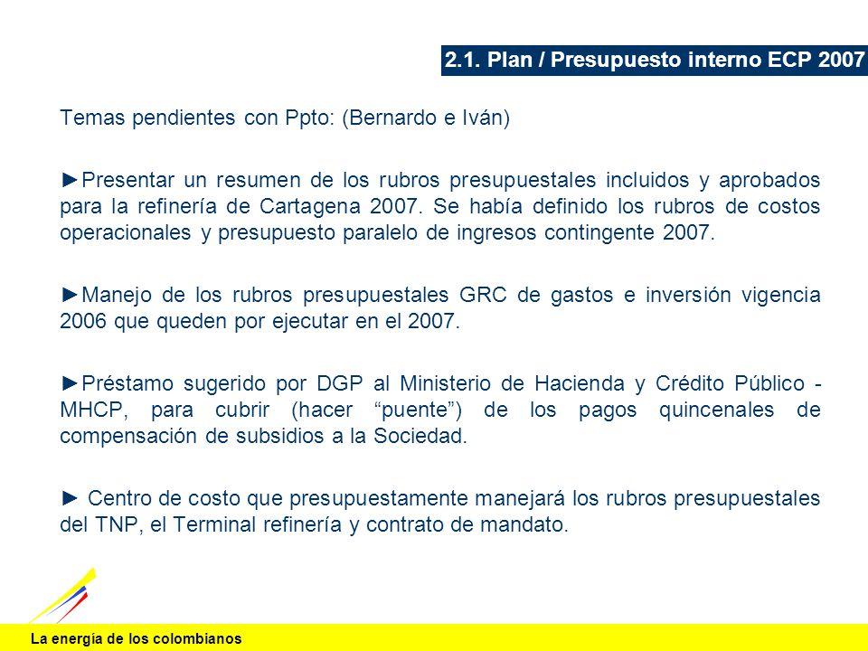 La energía de los colombianos 2.1. Plan / Presupuesto interno ECP 2007 Temas pendientes con Ppto: (Bernardo e Iván) Presentar un resumen de los rubros