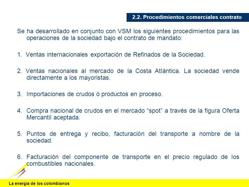 La energía de los colombianos 2.2. Procedimientos comerciales contrato Se ha desarrollado en conjunto con VSM los siguientes procedimientos para las o