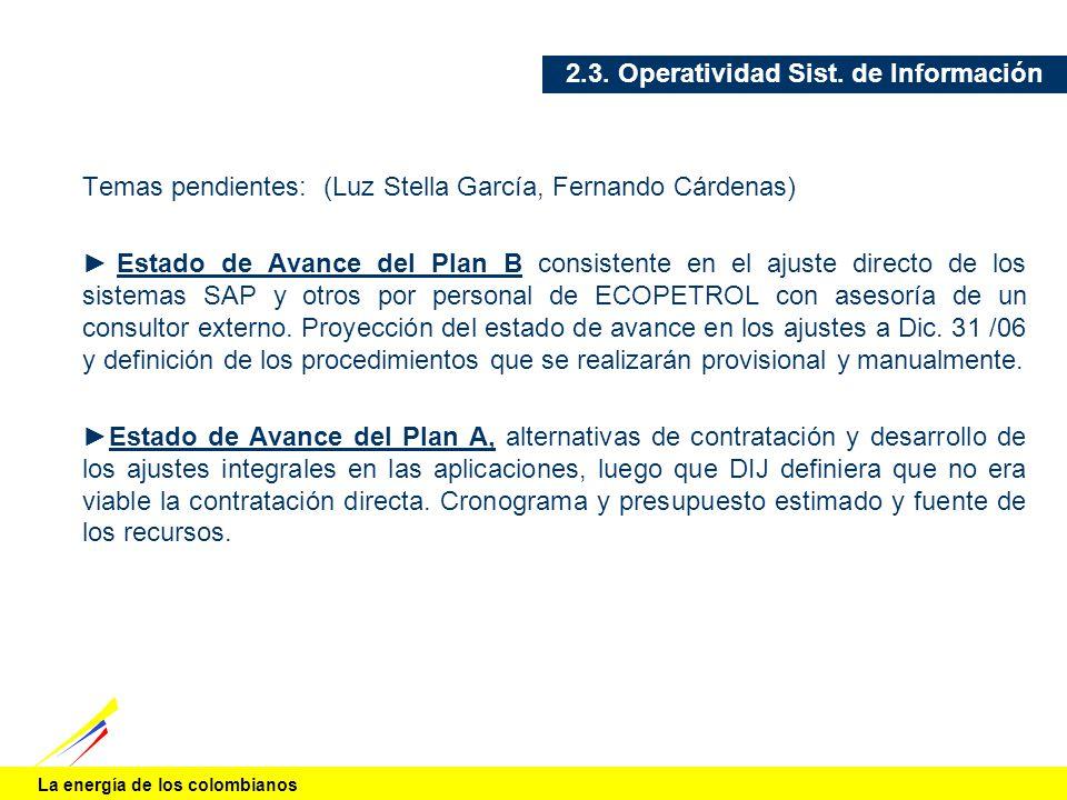La energía de los colombianos 2.3. Operatividad Sist. de Información Temas pendientes: (Luz Stella García, Fernando Cárdenas) Estado de Avance del Pla