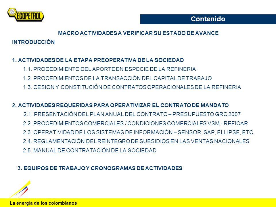 La energía de los colombianos Contenido MACRO ACTIVIDADES A VERIFICAR SU ESTADO DE AVANCE INTRODUCCIÓN 1. ACTIVIDADES DE LA ETAPA PREOPERATIVA DE LA S