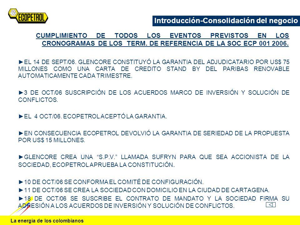 La energía de los colombianos Introducción-Consolidación del negocio CUMPLIMIENTO DE TODOS LOS EVENTOS PREVISTOS EN LOS CRONOGRAMAS DE LOS TERM. DE RE