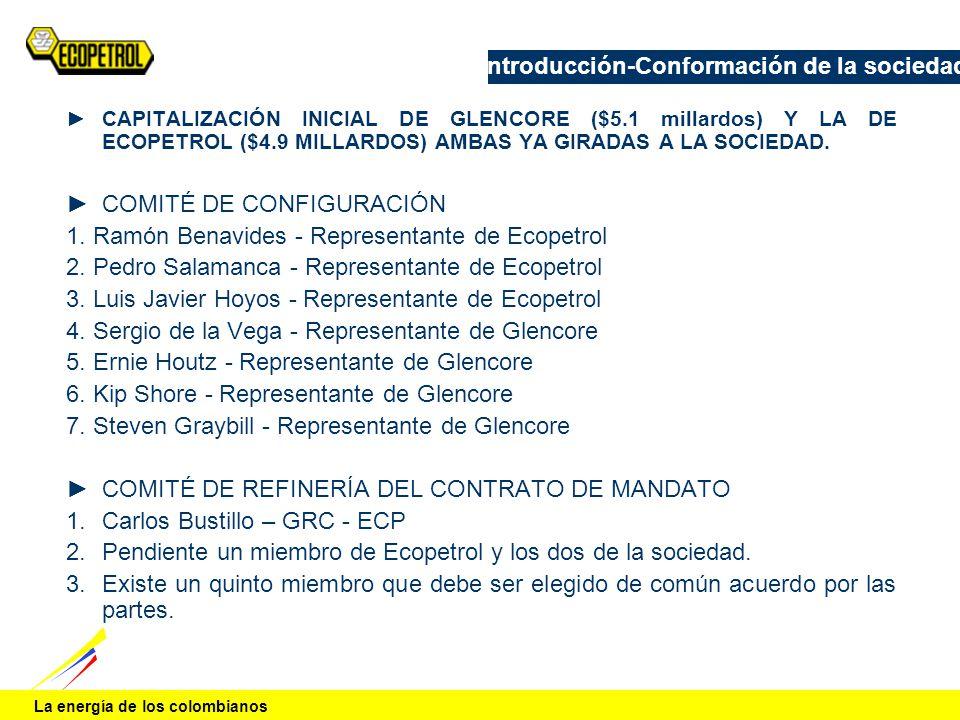La energía de los colombianos Introducción-Conformación de la sociedad CAPITALIZACIÓN INICIAL DE GLENCORE ($5.1 millardos) Y LA DE ECOPETROL ($4.9 MIL