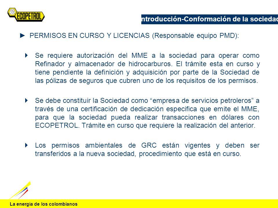 La energía de los colombianos Introducción-Conformación de la sociedad PERMISOS EN CURSO Y LICENCIAS (Responsable equipo PMD): Se requiere autorizació