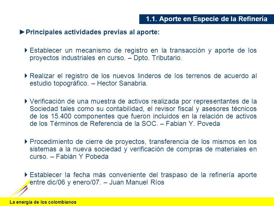 La energía de los colombianos 1.1. Aporte en Especie de la Refinería Principales actividades previas al aporte: Establecer un mecanismo de registro en