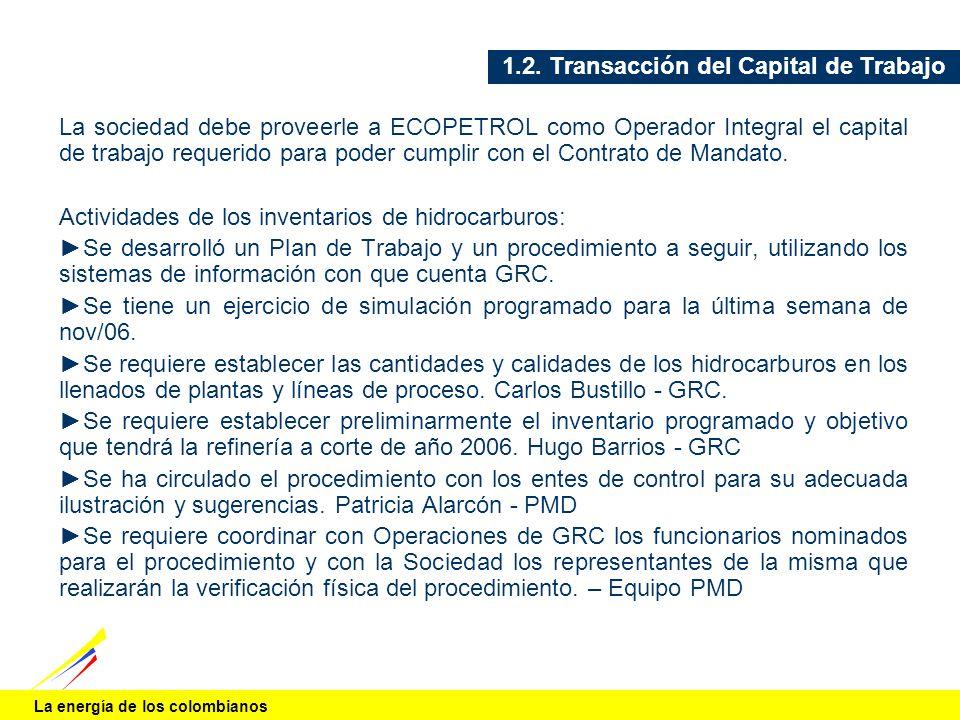 La energía de los colombianos 1.2. Transacción del Capital de Trabajo La sociedad debe proveerle a ECOPETROL como Operador Integral el capital de trab