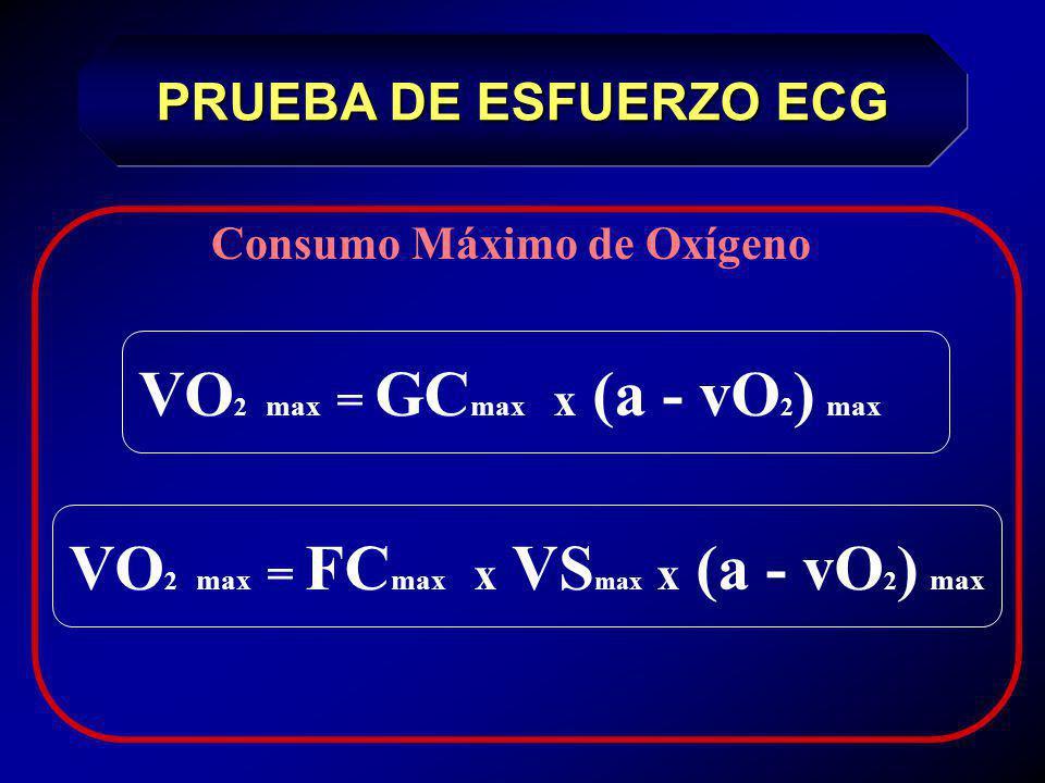 Consumo de Oxígeno en reposo 1 MET = 3,5 ml O 2 / Kg / Min PRUEBA DE ESFUERZO ECG